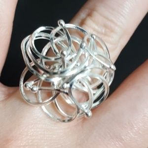 Abstract Flower Women's silver tone ring